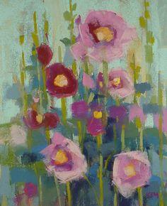 HOLLYHOCKS Garden  Original Pastel Painting 8x10 by Karen Margulis psa