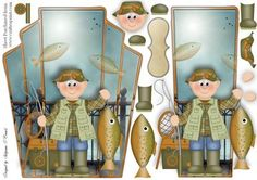 homme pecheur Pier Fishing card topper on Craftsuprint designed by Sallyanne… 3 D, Free Printable Cards, Boy Cards, Crafts For Boys, 3d Prints, Birthday Cards For Men, Fathers Day Cards, Decoupage Paper, Origami