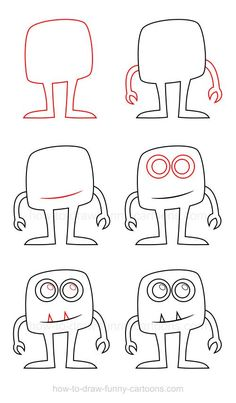 Cartoon Drawing Techniques How to draw a monster - Learning how to draw a monster is a very creative experience since these creatures can virtually have all the shapes and designs you can think of! Art Drawings For Kids, Doodle Drawings, Drawing For Kids, Cartoon Drawings, Easy Drawings, Art For Kids, How To Draw Kids, Doodle Monster, Monster Drawing
