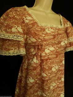 1970s Welsh Vintage Laura Ashley Empire Style 'Swans Reeds' Maxi Dress 8 10 | eBay