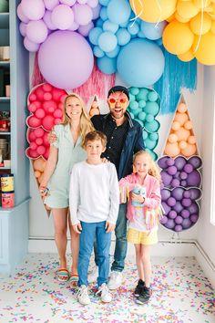 Balloon Installation, Balloon Backdrop, Helium Balloons, Balloon Garland, Balloon Arrangements, Balloon Centerpieces, Balloon Decorations, Summer Ice Cream, Ice Cream Party