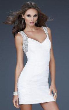 Sheath/Column V-neck Short/Mini Chiffon Cheap Party Dresses - Cocktail Dresses - Special Occasion Dresses