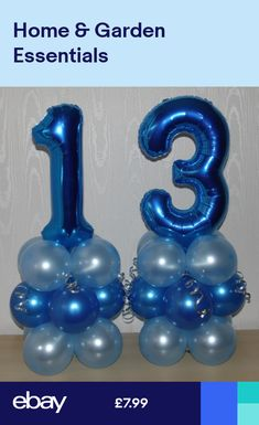 13th BIRTHDAY - AGE 13 -MALE -BOY -FOIL BALLOON DISPLAY-TABLE CENTREPIECE-BANNER Birthday Table Decorations, Girls Party Decorations, Birthday Balloon Decorations, Balloon Centerpieces, Birthday Balloons, Balloon Pillars, Balloon Tower, Balloon Stands, Balloon Display