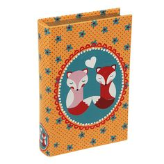 Book Box Casal de Raposas em Madeira - 24x15 cm | Carro de Mola - Decorar faz bem.