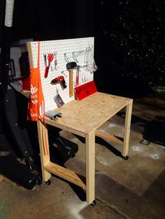Kid's Workbench Kids Workbench, Building A Workbench, Kids Tool Bench, School Auction Projects, Baby Lane, Bitty Baby, Diy Table, Kids Furniture, Diy For Kids