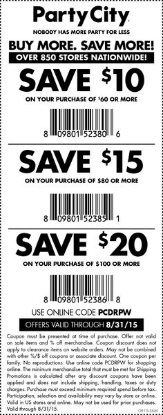 Pinned August 29th: $10 off $60 at Party #City or online via promo code PCDRPW #coupon via The #Coupons App