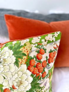 Bolster pillow cushion in oriental spring chinoiserie floral | Etsy Green And Gold, Red Green, Bolster Pillow, Pillows, Amy Wood, Textile Design, Floral Design, Luxury Cushions, Vintage Kimono