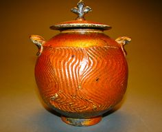 Wood fired in salt chamber of he Noborigama ......it is a salt or tea caddy
