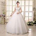 Ball Gown Wedding Dress Floor-length Queen Anne Satin / Tulle with Appliques / Beading 2016 - £122.99