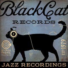 BLACK CAT records original graphic illustration by geministudio, $80.00