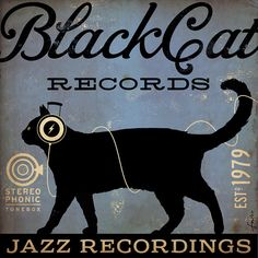 BLACK CAT records original graphic illustration art on canvas 12 x 12 x 1.5 by stephen fowler... I'm in love.