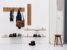 """Shoe Rack is an adjustable shoe organiser made in solid and sustainable materials. This shoe organiser can easily be adjusted to accommodate different types and sizes of shoes. Designer Sebastian Jørgensen explains: """"Shoe Rack is my attempt to create a sm Nachhaltiges Design, Rack Design, Wood Design, Modern Design, Bamboo Shoe Rack, Wood Shoe Rack, Shoe Racks, Rack Shelf, Storage Shelves"""