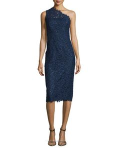 One-Shoulder+Lace+Midi+Cocktail+Dress,+Navy+by+Shoshanna+at+Neiman+Marcus.