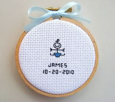 Christmas Ornament Mini Birth Record for Baby, Cross Stitch