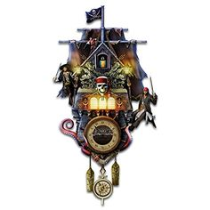The Bradford Exchange Disney 'Pirates Of The Caribbean' Cuckoo Clock Shaped Like The Black Pearl Ship And Features Jack Sparrow Barbossa, Barbossa's Monkey and Cotton's Parrot. Bradford Exchange Disney, Black Pearl Ship, Unusual Clocks, Disney Figurines, Disney Home Decor, Pirates Of The Caribbean, Nightmare Before Christmas, Disney Clocks, Cuckoo Clocks