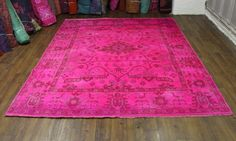 8×10 Hot Pink Overdyed Rug. Exact size is 8′ x 9'10. One of a kind Turkish Ushak design. Fine 100% wool pile – medium thickness. Perfect condition. Hot pink field. Accents are lavender, chocolate, raspberry & faded peach - See more at: http://westofhudson.com/product/8x10-hot-pink-overdyed-rug-turkish-wool-2700/#sthash.LxIaHRjp.dpuf