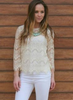 White Three-Quarter/Long Sleeve Top - White Lace 3/4 Sleeves Top