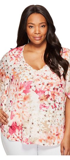 Calvin Klein Plus Plus Size Printed V-Neck Flutter Sleeve (Rose Floral Print) Women's Clothing - Calvin Klein Plus, Plus Size Printed V-Neck Flutter Sleeve, W7BAZ671-692, Apparel Top General, Top, Top, Apparel, Clothes Clothing, Gift, - Fashion Ideas To Inspire