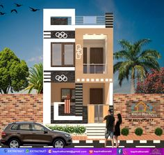 3 Storey House Design, Duplex House Design, House Front Design, House Design Photos, 2bhk House Plan, Model House Plan, Front Elevation Designs, House Elevation, 20x30 House Plans