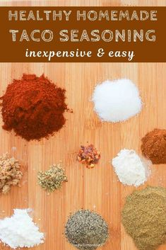Simple and easy recipe for homemade healthy taco seasoning. #taco #spices #seasoning #recipe #healthy #mexicanfood Heart Healthy Chicken Recipes, Whole Food Recipes, Snack Recipes, Meat Recipes, Drink Recipes, Cookie Recipes, Diy Taco Seasoning, Seasoning Mixes, Seasoning Recipe