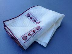 Men's Vintage 1960's  Handkerchief / White & Brown by fourBvintage