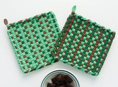 Fresh spearmint and chocolate - yum - inspire this set of handwoven potholders. These all cotton green, mint and brown loops are hand dyed and