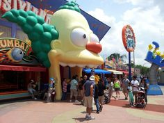 The entrance to the Simpsons attraction is through Krusty's mouth