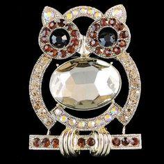 OWL Brooch PIN Brown Rhinestone w/ Crystal Branch | eBay