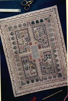 """""""Here at the fountain's sliding foot/Or at some fruit tree's mossy root/Casting body's vest aside/My soul up to the boughs doth glide."""" - Andrew Marvell.  (Needlework sampler: """"Sanctuary"""" by The Drawn Thread)"""