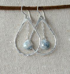 Sterling Silver Teardrop Hoop Earrings with by mysmallhawaiianhome