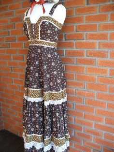 Bohemian Country Hippie Vintage 70s Dress With by VintageEclectica, $85.00