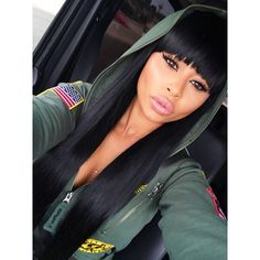 Blac Chyna Green Army Hoodie Sweater Full Fringe Bangs Dope Pretty Girl Swag Urban Streetwear Fashion Style Trend Celebrity Tyga Ex