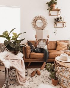 Timber Charme Tan Sofa, Home Decor, What makes a room feel cozy to you? For me, plants (obviously) but also throw blankets and pillows. I just don't feel like any space is complete wit. Boho Living Room, Home And Living, Rustic Modern Living Room, Modern Farmhouse, Small Living, Modern Bedroom, Living Room Vintage, Bohemian Living Spaces, Farmhouse Decor