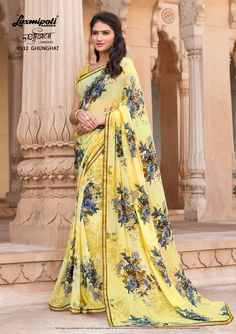 Get this stunning Lemon Yellow Georgette Saree and Multicolor Georgette Blouse along with Rawsilk Lace Border only at Laxmiapti Saree. #Catalogue #JAMUNIA #DesignNumber: 4532 #Price - ₹ 1475.00  #Bridal #ReadyToWear #Wedding #Apparel #Art #Autumn #Black #Border #MakeInIndia #CasualSarees #Clothing #ColoursOfIndia #Couture #Designer #Designersarees #Dress #Dubaifashion #Ecommerce #EpicLove #Ethnic #Ethnicwear #Exclusivedesign #Fashio Laxmipati Sarees, Lehenga Style Saree, Georgette Sarees, Silk Sarees, Sari, Indian Sarees Online, Buy Sarees Online, Dubai Fashion, Women's Fashion