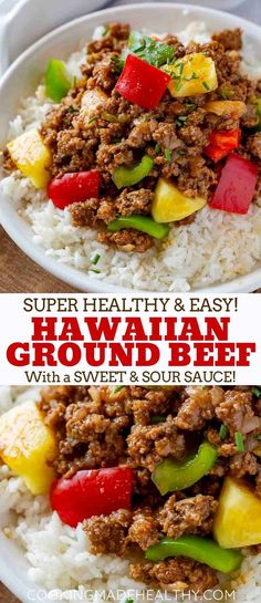 Ground Hawaiian Beef made with lean ground beef bell peppers onion and pineapple in a sweet and savory sauce made in under 30 minutes beef lean lowfat healthy hawaiian recipe easy stirfry cookingmadehealthy thanksgivingrecipe Healthy Diet Recipes, Cooking Recipes, Cooking Tips, Cooking Classes, Cooking Games, Cooking Beef, Healthy Recipes With Hamburger, Healthy Cooking, Delicious Recipes