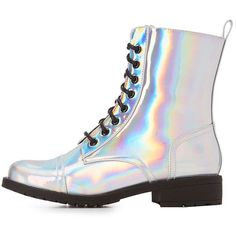 Charlotte Russe Holographic Lace-Up Combat Boots ($33) ❤ liked on Polyvore featuring shoes, boots, ankle booties, silver, lace up combat boots, laced up boots, lace up block heel boots, military boots and high ankle boots