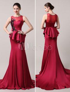 Burgundy Beading Bodice Apple Illusion Mermaid Evening Dress With Train…