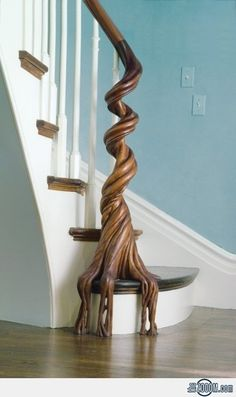Twisted Tree Staircase by Bannister. such a creative way to bring nature into a home!!