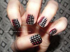 tri-color grid nails #nailart