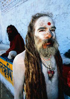 India, Rajasthan, Saddhu holy man during the annual Hindu pilgrimage to Pushkar lake by Gavin Hellier