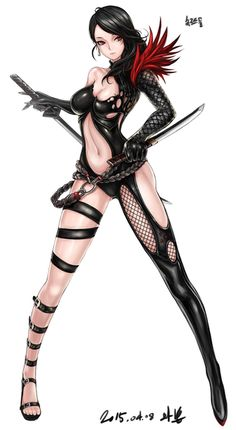 Anime picture 645x1174 with  blade & soul mhg0106 long hair single tall image light erotic black hair red eyes looking away tattoo eyebrows girl gloves navel weapon sword earrings katana suit