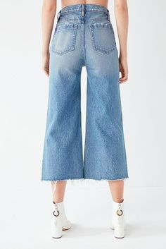 Slide View: 2: BDG Cropped Denim Culotte - Distressed