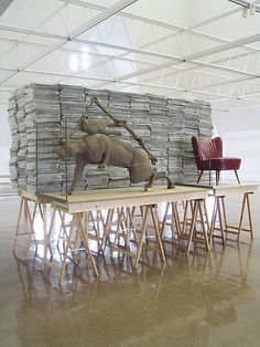 Mark Manders Staged Reading Room 2003 sand, iron, wood, plastic, rope, matchbox 120 x 69 x 79 inches; 305 x 175 x 200 cm