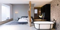 line architects creates 'soft loft' interior in moldova using subtle contrasts Loft Interiors, Industrial Interiors, Industrial Loft, Moldova, Common Area, Decoration, Interior Architecture, Residential Architecture, Living Spaces