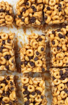Easy no-bake peanut butter cereal bars are great for breakfast or a snack. They're just four ingredients and take about ten minutes to make.