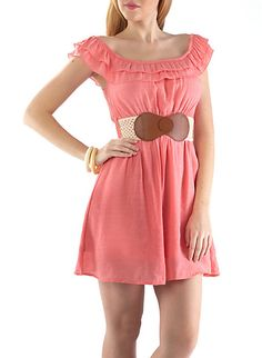 Ruffled Sun Dress,CORAL,large
