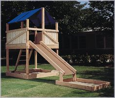 Woodworking Projects For Kids Play Structure Woodworking Plan It's always great when kids get to go outside and play! This Play Structure Woodworking Plan will allow you to make a fun place where your kids can play to their hearts Playhouse With Slide, Kids Playhouse Plans, Backyard Playhouse, Build A Playhouse, Kids Outside Playhouse, Backyard Toys, Woodworking Projects For Kids, Woodworking Plans, Woodworking Furniture