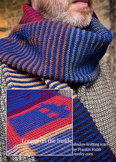 This piece of shadow knitting (also known as illusion knitting) features a motif that appears and vanishes across a field of color blocks that pay homage to a very famous striped scarf.