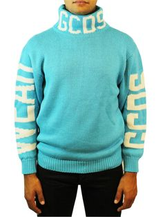 GCDS LIGHT BLUE LOGO TURTLENECK. #gcds #cloth #
