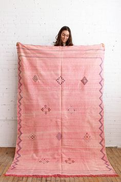 Pink kilim rug, cactus silk, handmade in Morocco- From Baba Souk